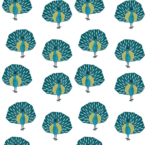 peacock fabric // bird animal peacocks nature design birder - turquoise white fabric by andrea_lauren on Spoonflower - custom fabric