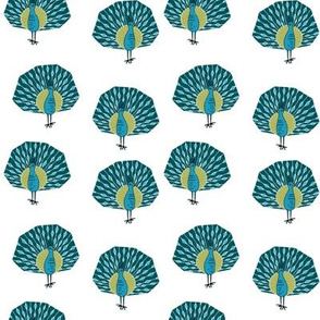 peacock fabric // bird animal peacocks nature design birder - turquoise white