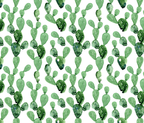 Watercolor Paddle Cactus / Large Scale fabric by hipkiddesigns on Spoonflower - custom fabric