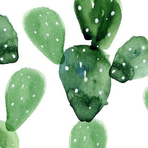 Watercolor Paddle Cactus / Large Scale