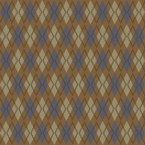 Blue and Bronze Argyle