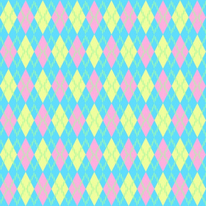 pink yellow and blue argyle