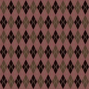pink tan red argyle