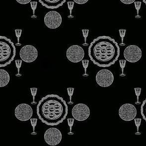 Passover Toile de Jouy, White on Black