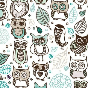 Cool owls and autumn leaves forest design blue boys