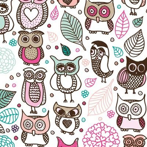 Cool owls and autumn leaves forest design pink girls