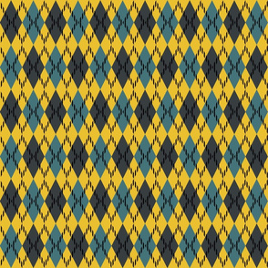 blue yellow and gray argyle