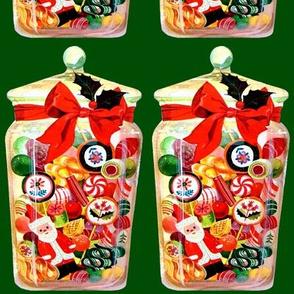 Merry Christmas xmas Santa Claus bows ribbons mistletoe candy canes peppermint sweets jars bon bon lollipop vintage retro kitsch