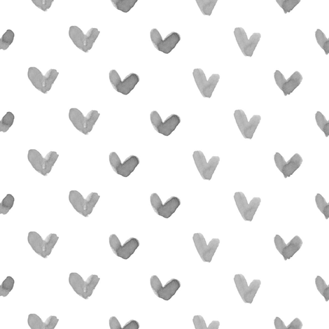 Love Hearts // Charcoal fabric by hipkiddesigns on Spoonflower - custom fabric