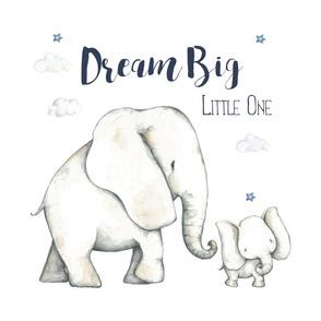 """15.5""""x15.5""""  inside 18"""" square / Dream Big Blue Elephant / Boys"""