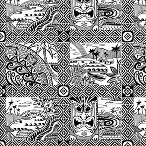 Hawaiian village black-n-white colorway