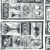 Botanical booze block print pattern