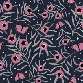 Ditsy Blooms and Butterflies - Pink/Navy