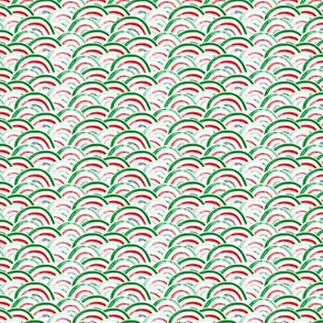 (micro scale) holiday scallops (green, red, grey)