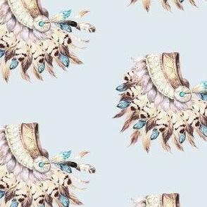 "4"" Tan & Aqua Headress / Light Blue Background / 90 degrees"