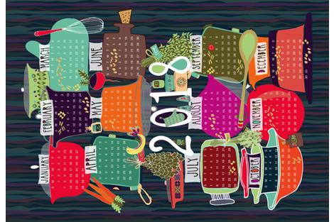 Macaroni Kitchen 2018 Tea Towel fabric by mhdesign on Spoonflower - custom fabric