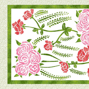 Roses Block Botanical Tea Towel