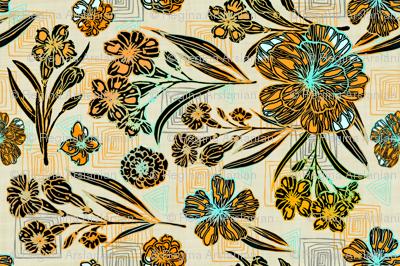Retro colors, Block Print Tea Towel