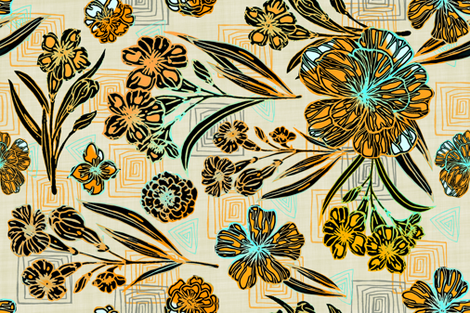 Retro colors, Block Print Tea Towel fabric by palifino on Spoonflower - custom fabric