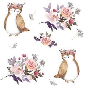 """8"""" Owl & Floral Bouquet"""