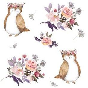 """6"""" Owl & Florals"""