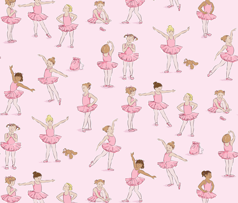 Miss Margot's Ballet Class (on pink) fabric by cerigwen on Spoonflower - custom fabric