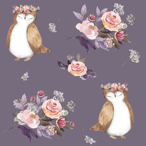 Owl_and_floral_bouquet_lilac_background_shop_preview