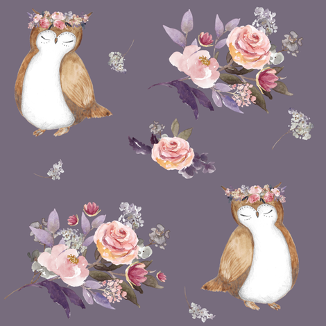 """8"""" Owl & Florals / Lilac fabric by shopcabin on Spoonflower - custom fabric"""