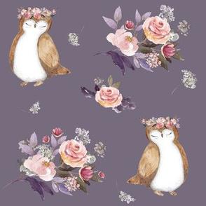 """8"""" Owl & Florals / Lilac"""