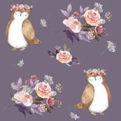 """6"""" Owl & Florals / Lilac"""