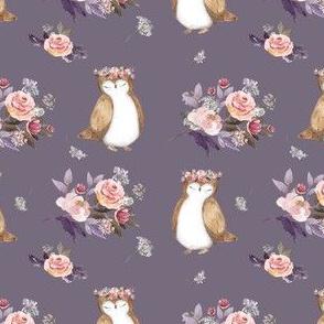 """4"""" Owl & Florals / Lilac"""