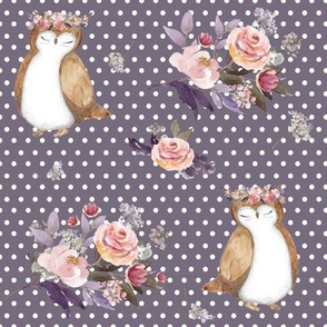 """8"""" Owl & Floral Bouquet / Lilac & White Polka Dots"""