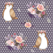 "4"" Owl & Floral Bouquet / Lilac & White Polka Dots"