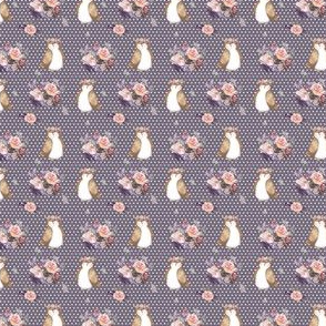 "1.5"" Owl & Floral Bouquet / Lilac & White Polka Dots"