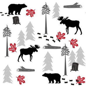 animal tracks - outdoors animals adventure camping hunting animals - black, grey, red