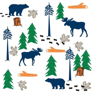 animal tracks - outdoors animals adventure camping hunting animals - green, navy, orange