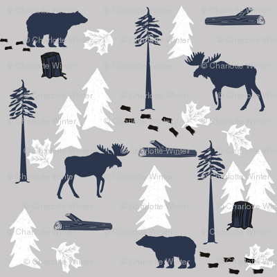animal tracks - outdoors animals adventure camping hunting animals - navy, grey, white
