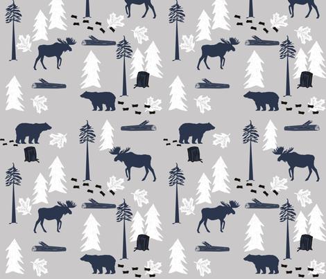 animal tracks - outdoors animals adventure camping hunting animals - navy, grey, white fabric by charlottewinter on Spoonflower - custom fabric