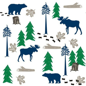 animal tracks - outdoors animals adventure camping hunting animals - green, navy, taupe