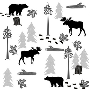 animal tracks - outdoors animals adventure camping hunting animals - black, grey