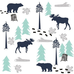 animal tracks - outdoors animals adventure camping hunting animals - navy, mint, grey