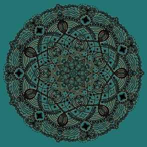 Mandala Project 273 | Black Gold on Teal Green