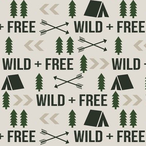 wild and free hunting hunter fabric - khaki and hunter green