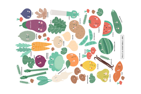 Fruit & Vegetable ABC fabric by anda on Spoonflower - custom fabric