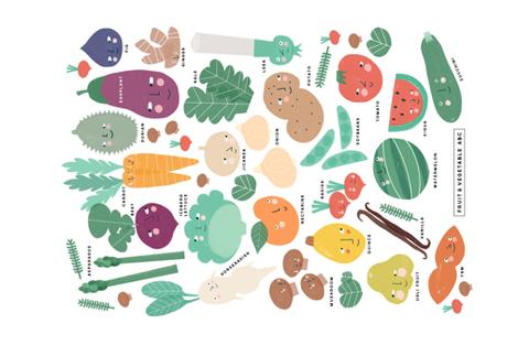 Fruit & Vegetable ABC fabric by anda on Spoonflower - custom fabric