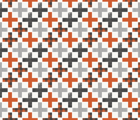 plus nursery fabric burnt orange and grey fabric by charlottewinter on Spoonflower - custom fabric