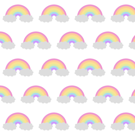 Pastel Rainbow and Clouds fabric by jannasalak on Spoonflower - custom fabric
