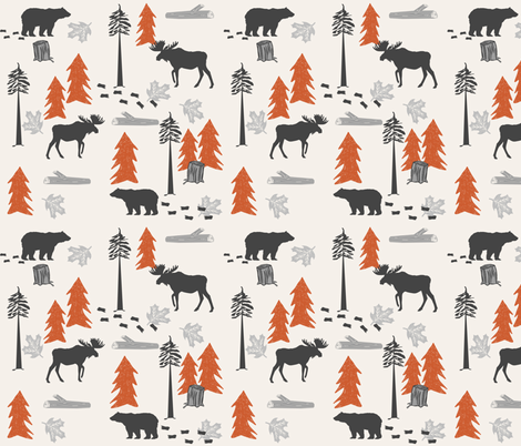 outdoors adventure burnt orange and charcoal fabric nursery baby boy fabric by charlottewinter on Spoonflower - custom fabric
