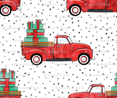 (micro scale) vintage truck with gifts - watercolor red and green