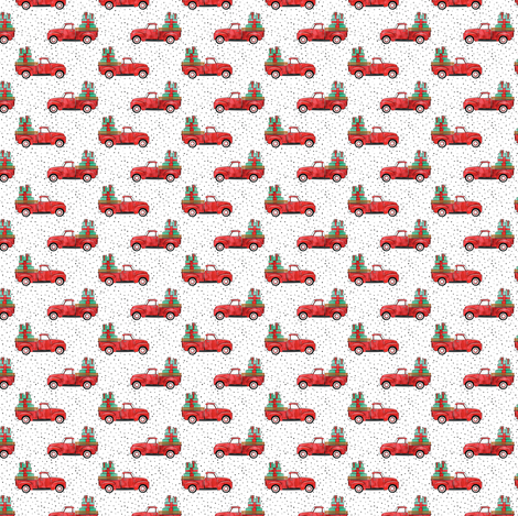(micro scale) vintage truck with gifts - watercolor red and green  fabric by littlearrowdesign on Spoonflower - custom fabric